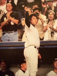 Irabu tips his cap to the crowd in the Bronx