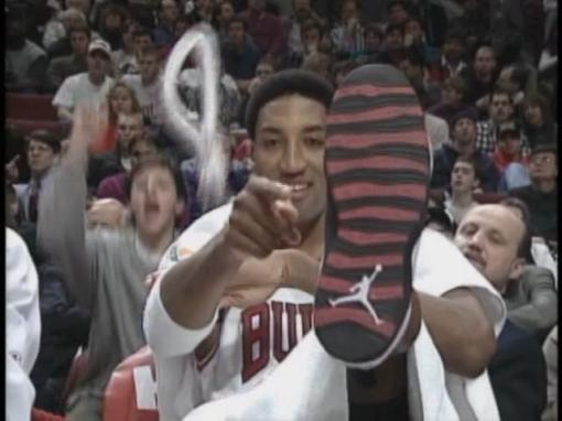pippen in jordans - courtesy of dikembe mutumbo
